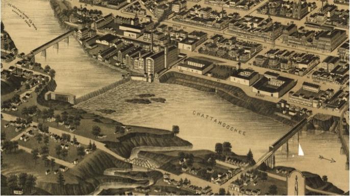 Vintage map of Columbus and targeted bridges
