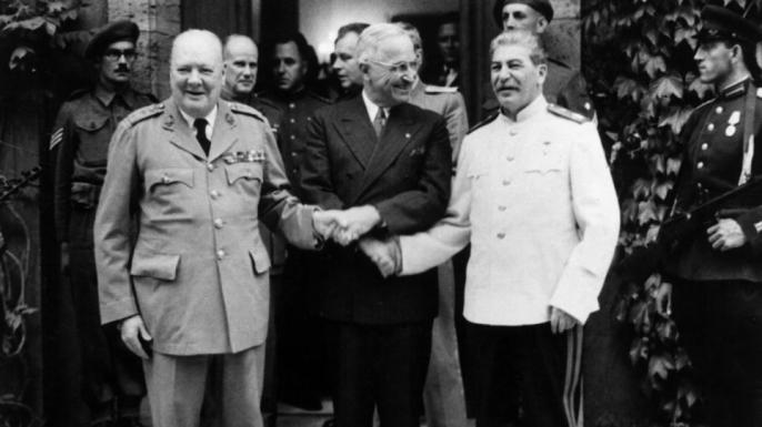 Harry Truman, Winston Churchill and Joseph Stalin