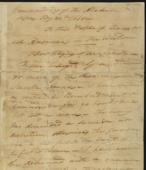 Travis' letter. (Courtesy of the Texas State Library and Archives Commission)