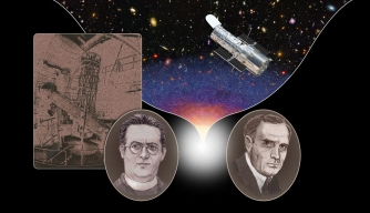 Illustration featuring Edwin Hubble, Georges Lemaître and the Hubble Space Telescope.
