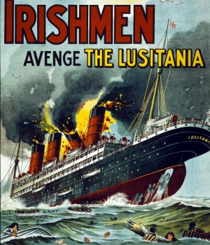 Irish propaganda poster showing the Lusitania in flames. (Credit: Galerie Bilderwelt/Getty Images)