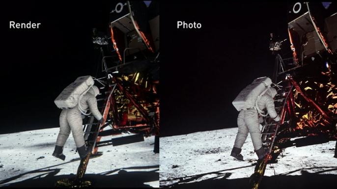 Comparison of Nividia's rendering of Buzz Aldrin on lunar surface (left) and Neil Armstrong's original photo (right).
