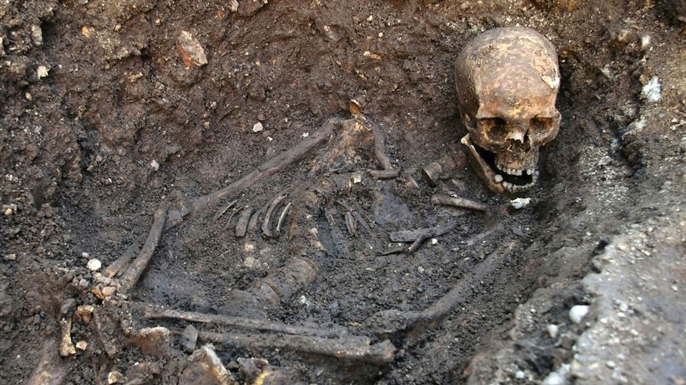 Remains of RIchard III, discovered in a parking lot in Leicester, England.