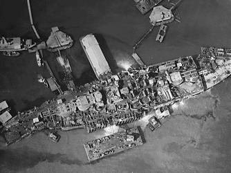 Salvage efforts on USS Oklahoma, 1943