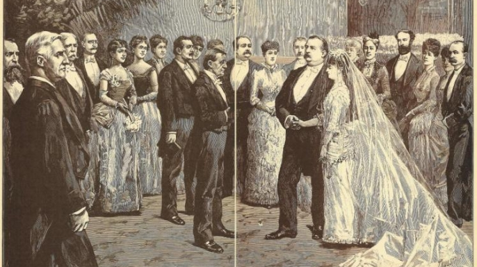 Illustration of the wedding of Grover Cleveland and Frances Folsom, published in Harper's Weekly on June 12, 1886.
