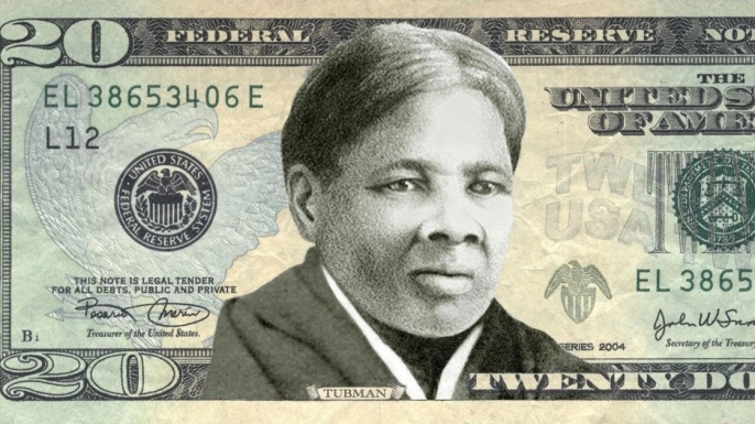 A mockup of the a $20 bill featuring Harriet Tubman.