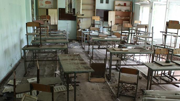 An abandoned school in Pripyat, Ukraine