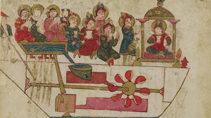 Painting depicting Al-Jazari's floating band.