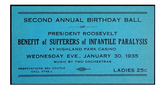 """Ticket to a 1935 """"Birthday Ball"""" honoring President Franklin Roosevelt."""