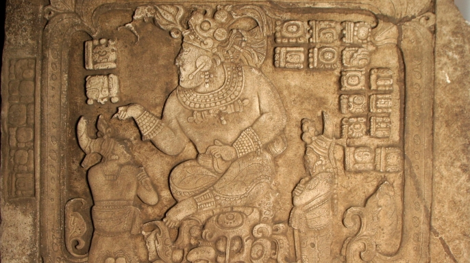 A panel depicting ceremonies of the Mayan kings.