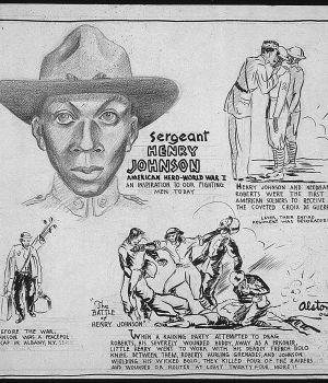 A 1943 cartoon depicting Johnson's life.