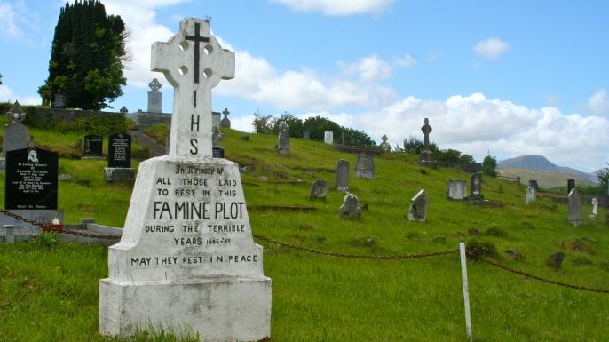 Irish famine plot in Kenmare, County Cork.