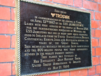 Plague commemorating the arrival of the USS Jamestown in Cobh, Ireland (Credit: Christopher Klein)
