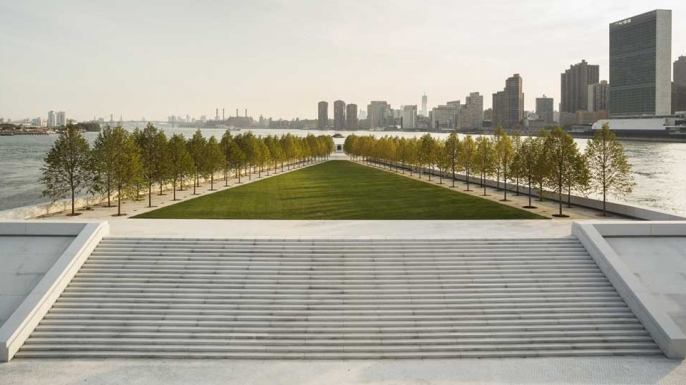 The completed memorial, with the United Nation headquarters on the right, in October 2012.