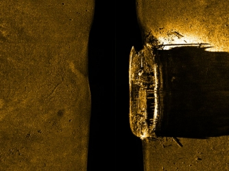 Sonar image of shipwreck of one of the two vessels lost in the Franklin Expedition.