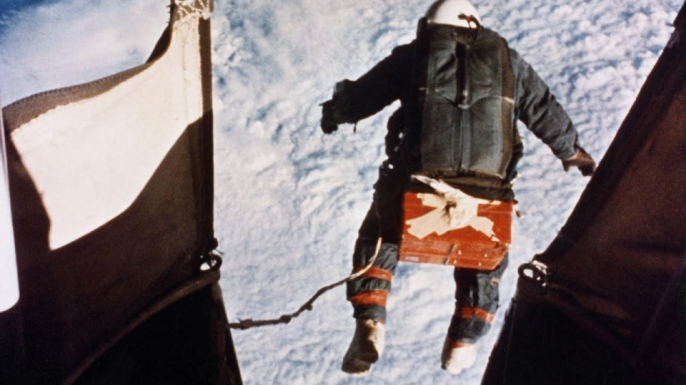 Joe Kittinger begins his historic freefall in August 1960.