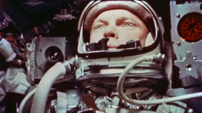 Glenn aboard Friendship 7 on February 20, 1962.