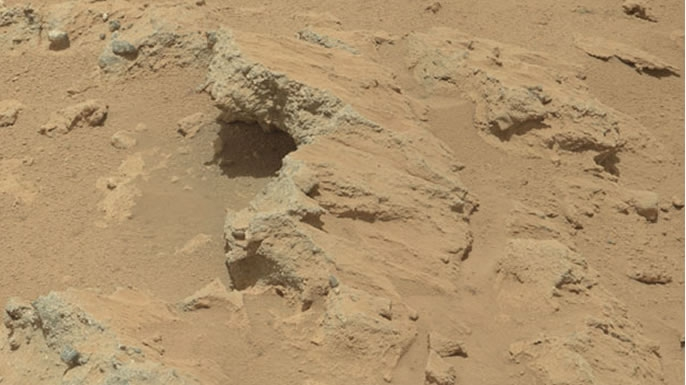 A rocky outcrop captured by Curiosity's cameras.