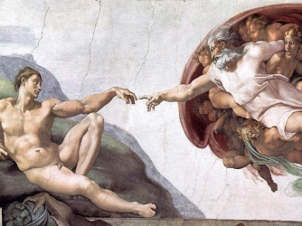 """The Sistine Chapel ceiling's most famous panel, entitled """"The Creation of Adam."""""""