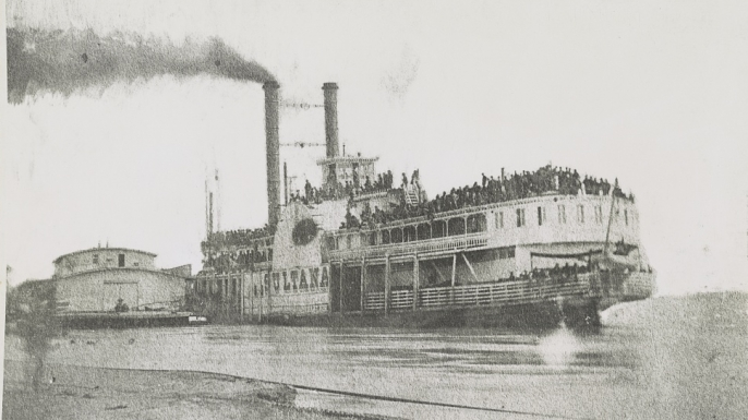The overloaded Sultana before it sank on April 27, 1865.