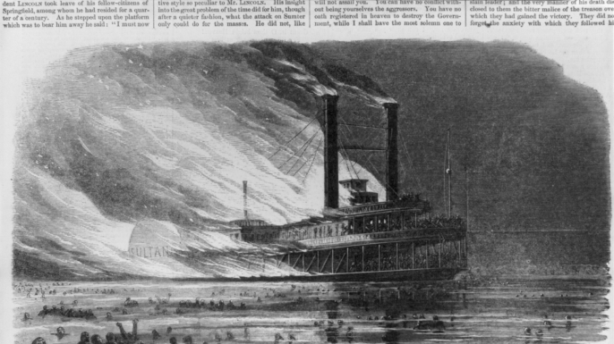 Harper's Weekly illustration of Sultana on fire.