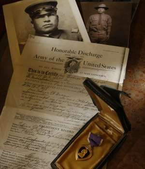Honorable discharge and Purple Heart of Tobias Frazier, a Choctaw Indian code talker during World War I. (Credit: Rodger Mallison/Fort Worth Star-Telegram/MCT via Getty Images