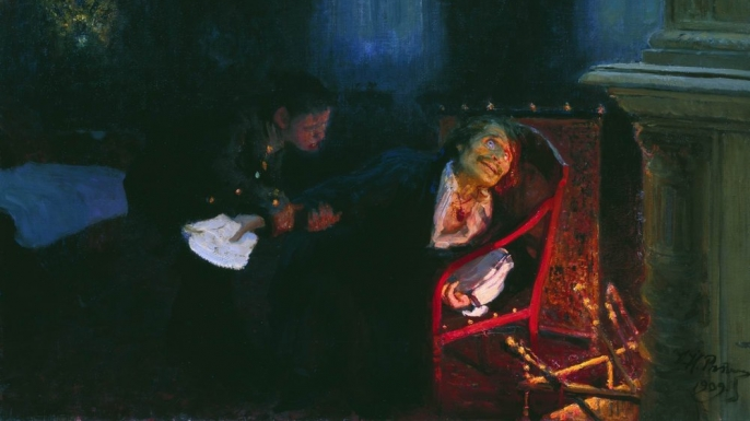 "Painting depicting Gogol burning the manuscript of the ""Dead Souls"" sequel."