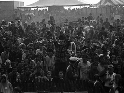 Fans at the 1965 Newport Folk Festival. (Credit: David Gahr/Getty Images)