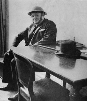 Winston Churchill during an air raid warning. (Credit: Library of Congress)