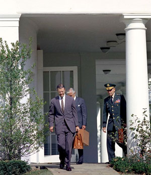 Members of the Executive Committee of the National Security Council leave the White House on October 29, 1962. (John F. Kennedy Presidential Library and Museum)
