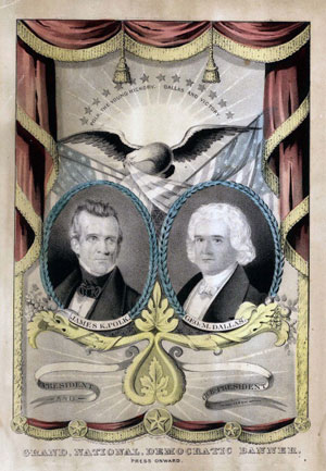 "An 1844 campaign poster featuring James K. Polk and running mate George Dallas. Polk was the first ""dark horse"" candidate elected president. (Getty Images)"