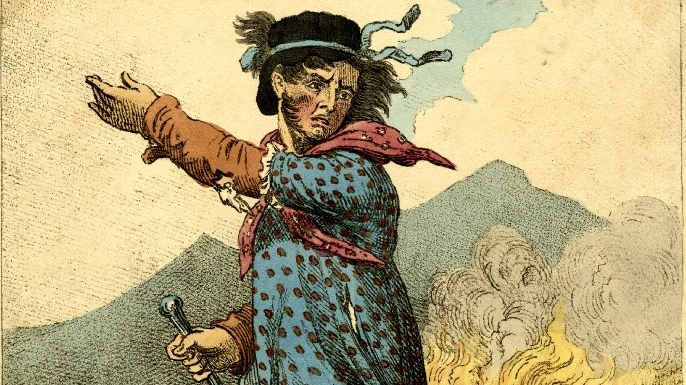 Cartoon showing Ned Ludd, the mythical leader of the Luddites. (Credit: British Museum)