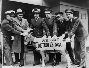 Ushers with goat at Wrigley Field.  (Credit: Keystone-France/Getty Images)