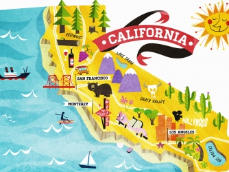 Map of tourist attractions in California. (Credit: Getty Images)