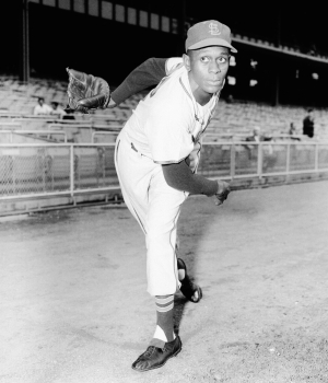 Portrait of pitcher Satchel Paige, of the St. Louis Browns, prior to a game against the New York Yankees in 1952. (Credit: Kidwiler Collection/Getty Images)