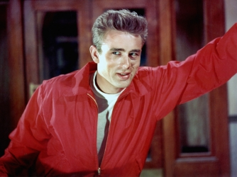 James Dean poses for a Warner Bros publicity shot for his film 'Rebel Without A Cause' in 1955 in Los Angeles, California. (Credit: Michael Ochs Archives/Getty Images)
