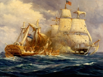 USS Constitution defeats HMS Guerriere during the War of 1812. (Credit: Naval Historical Center)