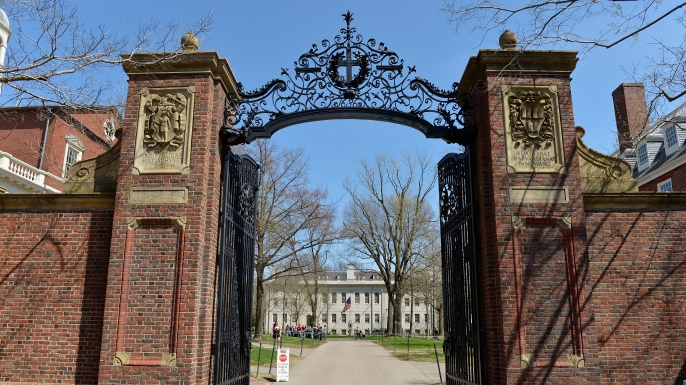 A view of the gates of Harvard University.  (Credit:Paul Marotta/Getty Images)