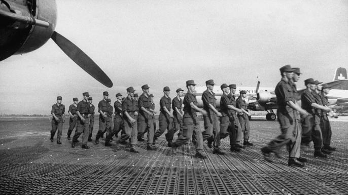 UN International Emergency Force assembling, 1956.  (Credit: David Lees/Getty Images)