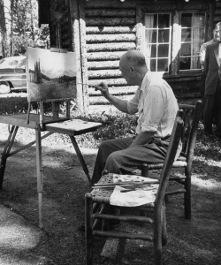 Eisenhower painting while on vacation. (Credit: Carl Iwasaki/The LIFE Images Collection/Getty Images)