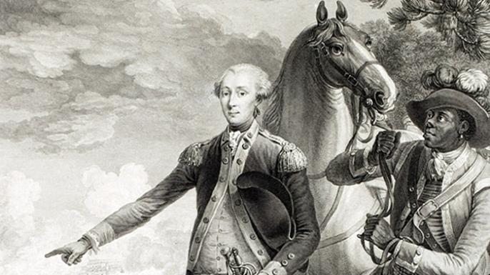 James Armistead Lafayette (R) at Yorktown, standing with Marquis de La Fayette (L).