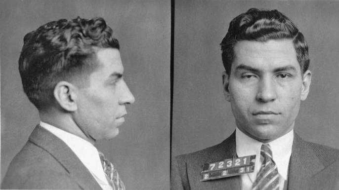 Mugshot of Italian-American mobster Charles Luciano.