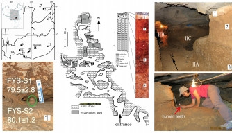 Geographical location and interior views of the Fuyan Cave, Doaxian with dating sample (lower left), plan view of the excavation area with stratigraphy layer marked (center), the spatial relationship of the excavated regions and researcher finding human tooth (right). (Credit: Y-J Cai, X-X Yang, and X-J Wu)