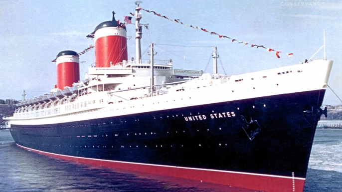 SS United States during it's service career years, 1952-1969. (Credit: SS United States Conservancy)