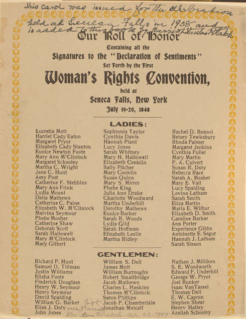 an introduction to the first womens rights convention in seneca falls new york The seneca falls convention was the first women's rights convention it advertised itself as a convention to discuss the social, civil, and religious condition and rights of woman [2] [3] held in seneca falls , new york , it spanned two days over july 19-20, 1848.