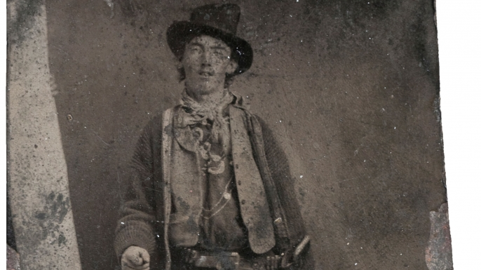 The only existing photo of Billy the Kid, likely taken in 1880.