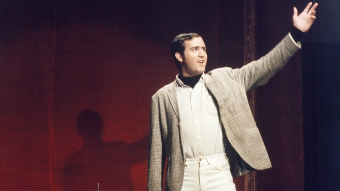 Andy Kaufman's guest performance on Saturday Night Live, October 11, 1975. (Credit: NBC/Getty Images)
