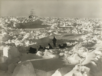 Ice conditions in August, 1915  during the Imperial Trans-Antarctic Expedition, 1914-17, led by Ernest Shackleton. The Endurance is in the background. (Credit: Frank Hurley/Getty Images)