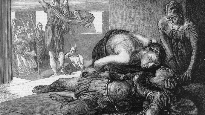 Greek soldier Pheidippides arrives in Athens with news of the Greek victory over the Persians at Marathon, only to die on the spot, 490 BC. (Credit: Hulton Archive/Getty Images)