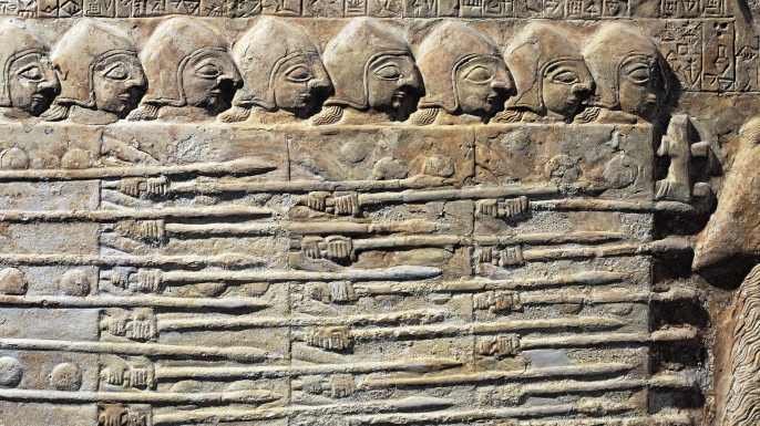 Stele of the Vultures, portraying Eannatum sovereign troops in the conquest of Umma. (Credit: DEA/G. DAGLI ORTI/De Agostini/Getty Images)